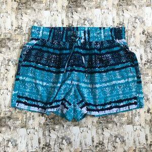 Blue Boho Print Shorts